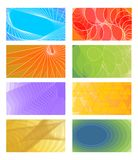 Set of cheerful vector  backgrounds for business card, flyer, leaflet, cover. Various color  red, orange, light green, violet Royalty Free Stock Photography