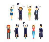 Set of cheering students and graduates Royalty Free Stock Photography