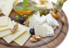 Set with cheese in assortment Stock Photos