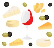 Set cheese, glass of wine and olive. Vector illustration for design menus, recipes and packages product. royalty free illustration