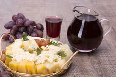 Set of cheese, grapes and red wine royalty free stock photography