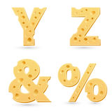 Set of cheese letters. Royalty Free Stock Photos