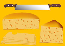 Set of cheese with twin knife, vector Royalty Free Stock Images
