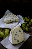 Set of cheese with a white and blue mold Stock Image