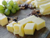 Set cheese on a wooden board Royalty Free Stock Photos
