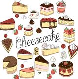 A set of cheesecake elements, cakes and pastries,  doodle set drawn by hand royalty free illustration