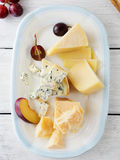 Set of cheeses on plate Royalty Free Stock Image