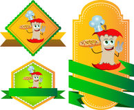 Set of chef apple core with pizza gesturing the peace sign label with blank ribbon Stock Photo