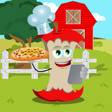 Set of chef apple core with pizza and tablet on a farm Stock Photo
