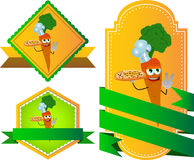 Set of chef carrot with pizza gesturing the peace sign label with blank ribbon Stock Photos