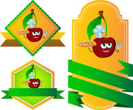 Set of chef cherry with pizza gesturing the peace sign label with blank ribbon Royalty Free Stock Image