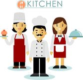 Set of chef cook and waitress in flat style Stock Photos