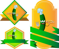 Set of chef cucumber or pickle with pizza gesturing the peace sign label with blank ribbon Royalty Free Stock Images