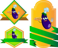 Set of chef eggplant with pizza gesturing the peace sign label with blank ribbon Stock Images