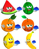 Set of chef fruits with ok sign Stock Images