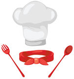Set of chef hat ,red scarf ,spoon and fork Royalty Free Stock Images