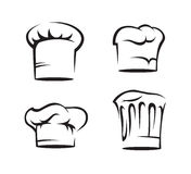 Set of chef hats. Monochrome set of chef hats Royalty Free Stock Images