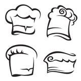 Set of chef hats. Monochrome set of chef hats Stock Image