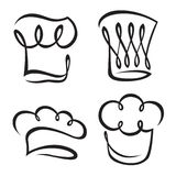 Set of chef hats. Monochrome set of chef hats Stock Photography