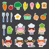 Set of chef kids and kitchen elements Stock Photo