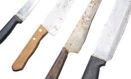 Set of chef kitchen knife isolated Stock Images