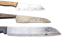 Set of chef kitchen knife isolated. Old set of chef kitchen knife isolated stock image