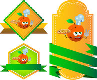 Set of chef peach with pizza gesturing the peace sign label with blank ribbon Stock Image