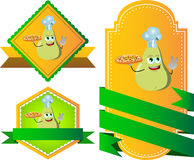 Set of chef pear with pizza gesturing the peace sign label with blank ribbon Stock Image