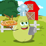 Set of chef pear with pizza and tablet on a farm Stock Photography