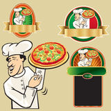 Set of chef with pizza Royalty Free Stock Photos
