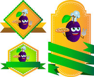 Set of chef plum with pizza gesturing the peace sign label with blank ribbon Royalty Free Stock Photography