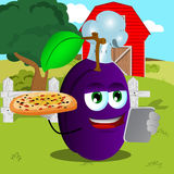 Set of chef plum with pizza and tablet on a farm Royalty Free Stock Photos