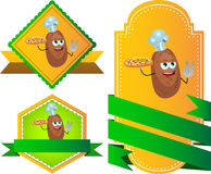 Set of chef potato with pizza gesturing the peace sign label with blank ribbon Stock Images