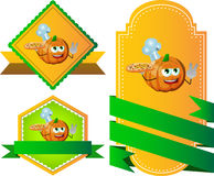 Set of chef pumpkin with pizza gesturing the peace sign label with blank ribbon Stock Image