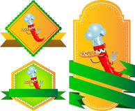 Set of chef red hot chili pepper with pizza gesturing the peace sign label with blank ribbon Stock Images