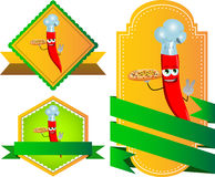 Set of chef red hot chili pepper with pizza gesturing the peace sign label with blank ribbon Royalty Free Stock Images