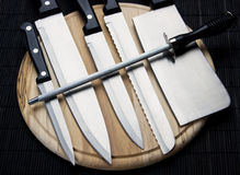 Set of chef's knives Royalty Free Stock Photos