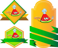 Set of chef slice of watermelon with pizza gesturing the peace sign label with blank ribbon Royalty Free Stock Images