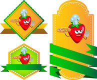 Set of chef strawberry with pizza gesturing the peace sign label with blank ribbon Stock Photo