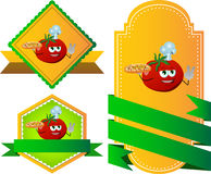 Set of chef tomato with pizza gesturing the peace sign label with blank ribbon Stock Image