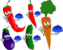 Set of chef vegetables with ok sign Royalty Free Stock Photography