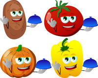 Set of chef vegetables with ok sign Royalty Free Stock Images