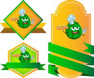 Set of chef watermelon with pizza gesturing the peace sign label with blank ribbon Stock Photography