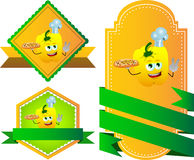 Set of chef yellow bell pepper with pizza gesturing the peace sign label with blank ribbon Stock Image
