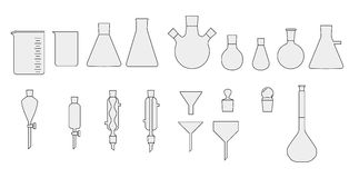Set of chemical glassware Stock Photos