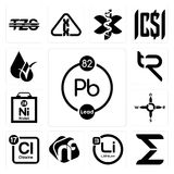 Set of chemical, sigma, lithium, nf, periodic table chlorine, n s e w, nickel, tr, hypoallergenic icons. Set Of 13 simple editable icons such as chemical, sigma Royalty Free Stock Images