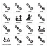 Set of Chemist, Photographer, Construction worker, Secretary, Priest, Businessman, Concierge, Courier, Manager icons. Set Of 16 simple  icons such as Chemist Stock Photos