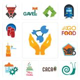 Set of chemist, snails, , merry christmas, facility, motorcycle shop, first birthday, go food, boxing gloves icons. Set Of 13 simple editable icons such as Royalty Free Stock Photo