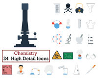 Set of 24 Chemistry Icons. Flat color design. Vector illustration Royalty Free Stock Photos