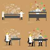Set of chemistry laboratory with doctors. Vector illustration Stock Images